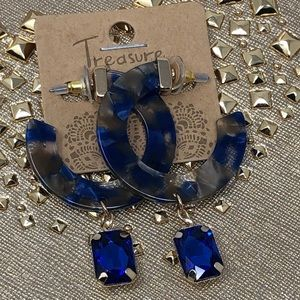 Blue Round Crystal Dangle Gold Earrings